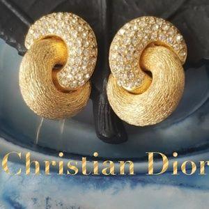 Christian Dior GoldTone Rhinestone ClipOn Earrings